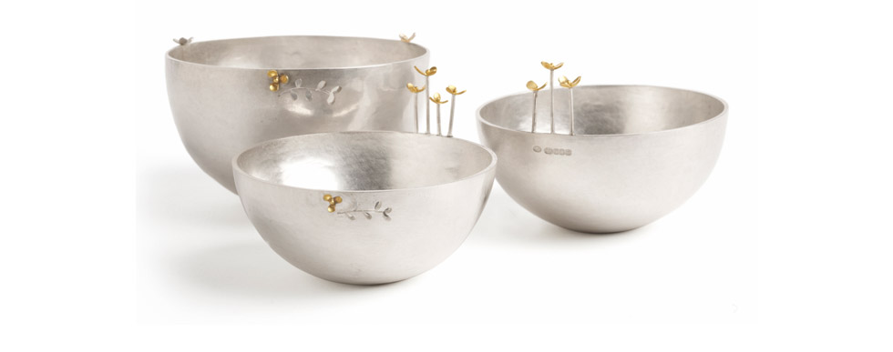 Silver Bowls with Flowers