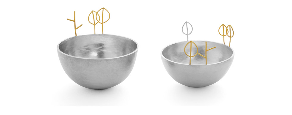 Silver Bowls with Tree and Twig