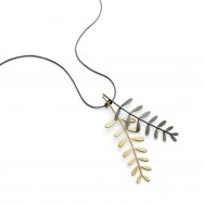 mimosa pendant two stems gold plate